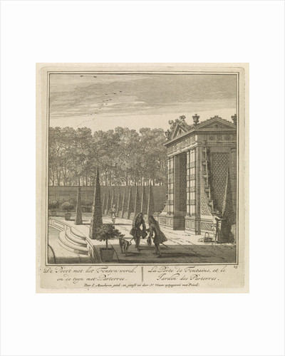 Gate in the garden of Castle Heemstede, gazebo overlooking the lake, the port and Castle Heemstede by Isaac de Moucheron
