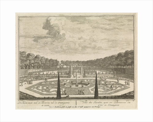 Formal gardens at Castle Heemstede, Large pond at Castle Heemstede, Cave seen from the gallery, Grotto in the garden of Castle Heemstede by Isaac de Moucheron
