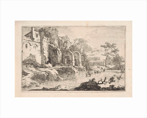 Landscape with ruins and a shepherd by Jan Smees
