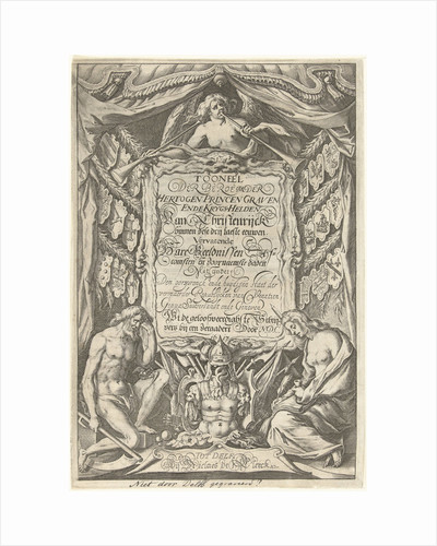Cartouche with title and the allegorical figures Father Time and History by Nicolaes de Clerck