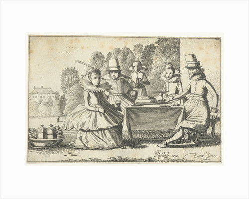 People enjoying a meal at a table in a garden by Claes Jansz. Visscher II