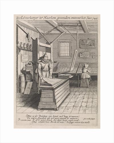 Interior of a book printer by Jan van de Velde