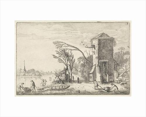 Figures in a winter landscape with a tower by Jan van de Velde II