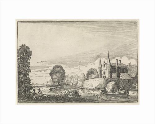 Pleasure boat in a moat by Jan van de Velde II