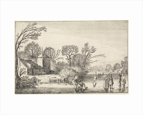 Skating at a farm and a haystack by Jan van de Velde II