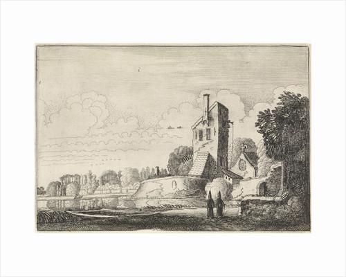 Landscape with fortress tower and chapel by Jan van de Velde II