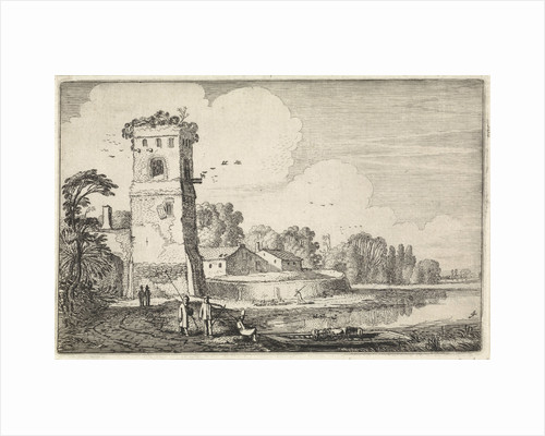 Sheep near a tower in a river landscape by Jan van de Velde II