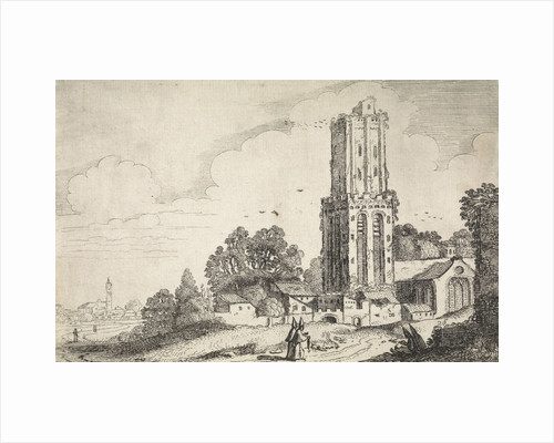 Landscape with dilapidated church tower by Jan van de Velde II