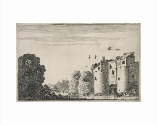 Figures in a boat with a ruined castle on the water by Jan van de Velde II