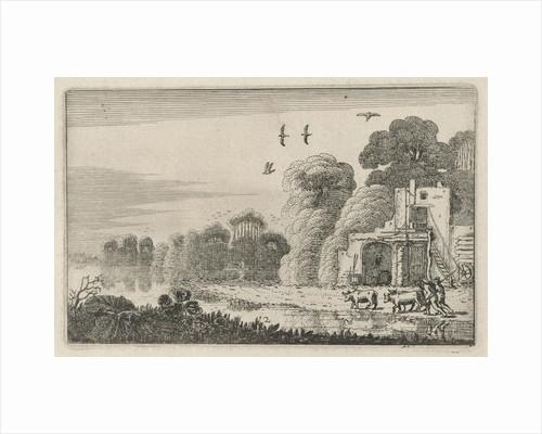 Figures with cows at a ruin by Jan van de Velde II