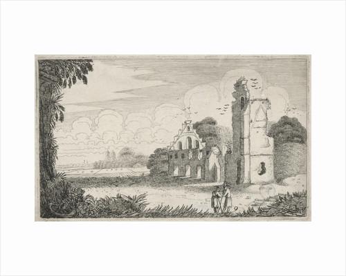 Two figures in a ruined house by Jan van de Velde II