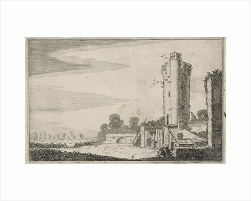 Two figures near a ruined tower by Jan van de Velde II