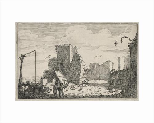 Figures near a well and a ruined farmhouse by Jan van de Velde II