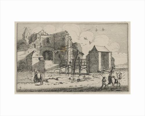 Horsemans at a ruined castle with bridge by Jan van de Velde II