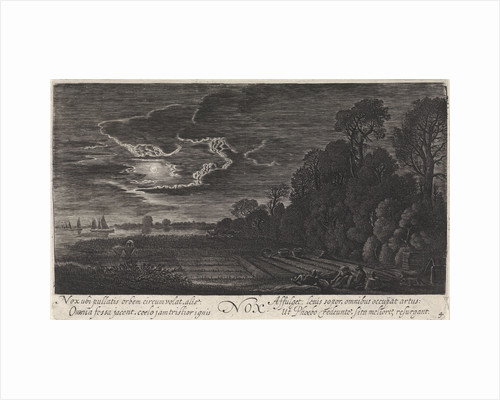 Landscape with resting bird catchers: night by Jan van de Velde II