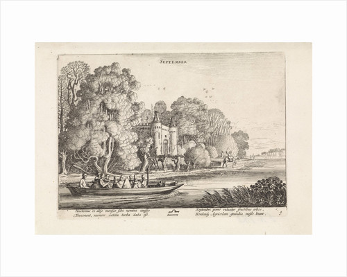 Landscape with figures in a barge: september by Jan van de Velde II