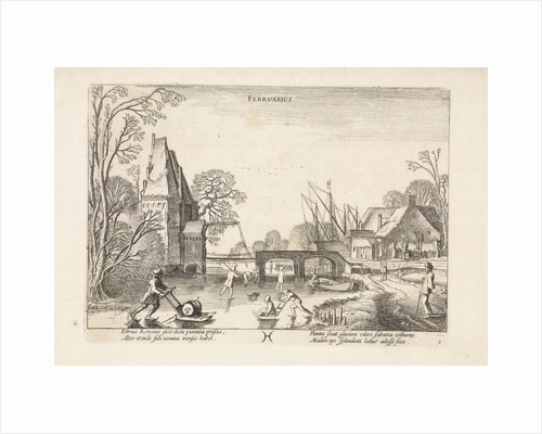 Winter Landscape with Skaters and figures with sleds on the ice, depicting the month of February by Jan van de Velde II
