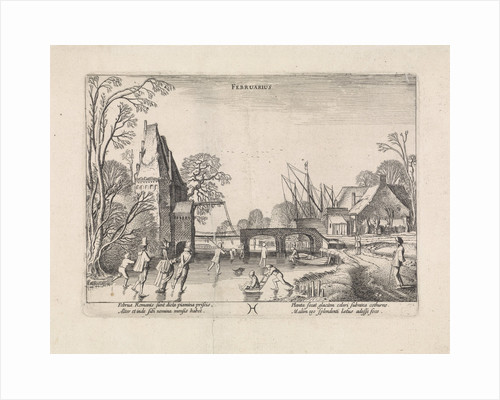 Winter Landscape with Skaters on the ice, depicting the month of February by Jan van de Velde II