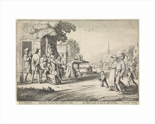 Dancing farmers during a village festival by P. Leijenaar