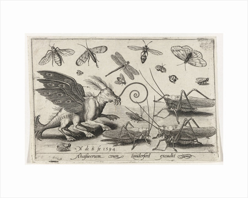 Locusts and fantasy creature with wings and webbed by Nicolaes de Bruyn