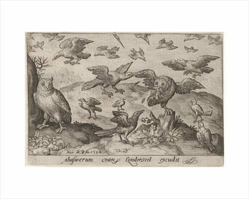 Owl with prey attacked by other bird by Nicolaes de Bruyn
