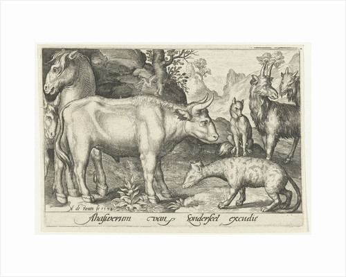 Taurus and other livestock and hyenas by Nicolaes de Bruyn