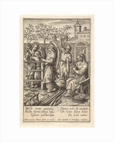 Christ child builds a fence by Hieronymus Wierix