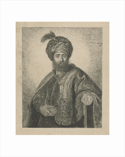 Portrait of an unknown bearded man with turban by Antoine Marie Labouchere