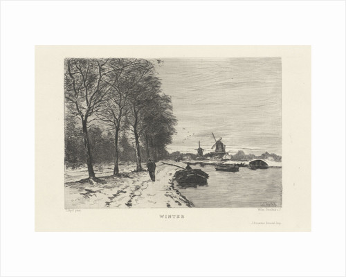 Winter landscape with speed and mills by M.M. Olivier