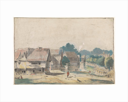 Village with houses with timber by Josua de Grave