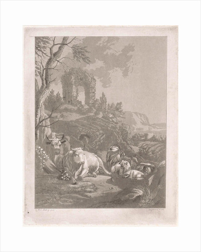 Cows, goats and sheep in a mountainous landscape with ruins by Diederik Jan Singendonck