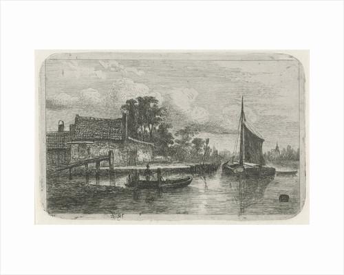 Sailing ship on the waterfront by Hermanus Jan Hendrik van Rijkelijkhuysen