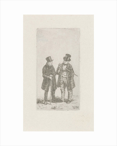 Two men with cane and top hat by Christiaan Wilhelmus Moorrees