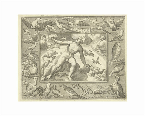 Element air as a young man on clouds between flying birds by Maerten de Vos