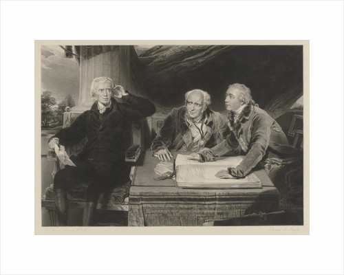 The Baring family father and two sons? at a table with merchants' books by Thomas Lawrence