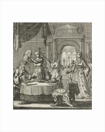 Queen turns a plate of food over above the head of her husband by Aart Wolsgrein