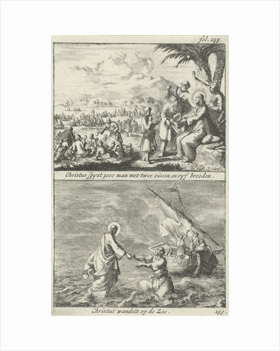 Miraculous multiplication of loaves and fishes by Christ and Christ on the water by Jan Claesz ten Hoorn