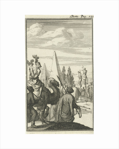 Figures impaled on a pole in Egypt as a punishment by Charles Angot