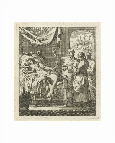 Three people at a sickbed by Pieter Arentsz II