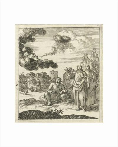 Five figures watch as a cherub from a cloud blows upwards by Pieter Arentsz II