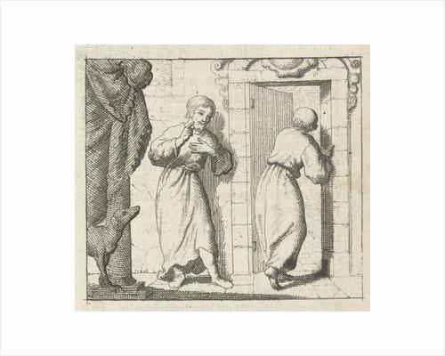 Two men at the open door of a room by Pieter Arentsz & Cornelis van der Sys II