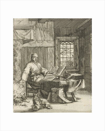 The writer Willem Sluiter sits at a table with folios and warms his hands by the fire by Gerbrandt Schagen