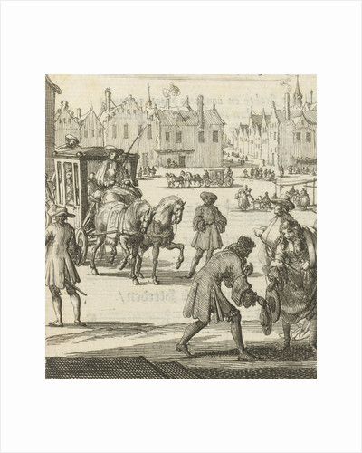 The city life that the writer Willem Sluiter had left: big square with carriage and different people by Gerbrandt Schagen