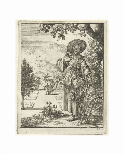Woman picking roses in a garden by Pieter Arentsz II