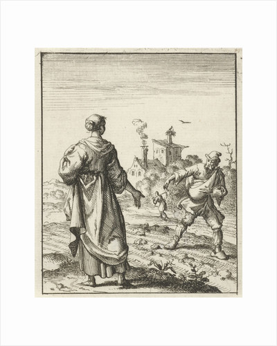 Female beholds a farmer sowing by Pieter Arentsz II