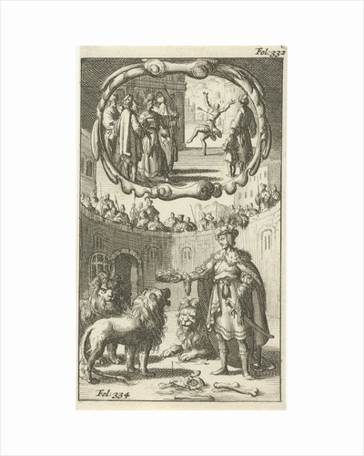 Cambyses kills the son of Prexaspis / Iron Henry, Duke of Holstein, between the lions by Johannes Boekholt
