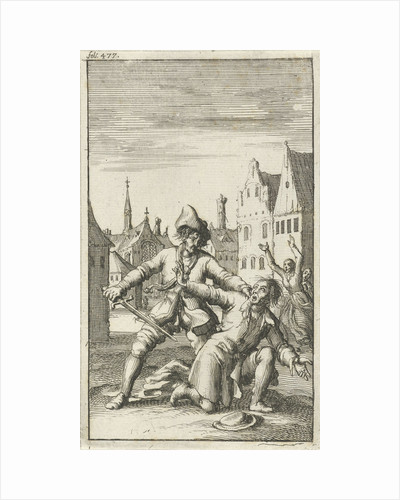 Unarmed man is threatened in the street by a man with a sword by Jan Bouman