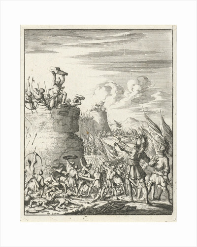 Attack on a fortress where a Turk is hit by arrows by Timotheus ten Hoorn