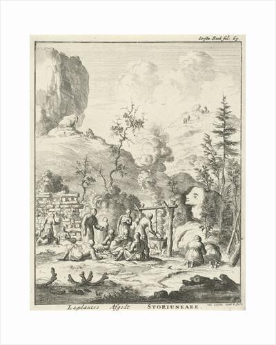 Laplanders worship the god Storiunkare, Lapland by Jan Claesz ten Hoorn