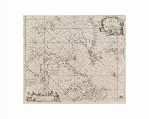 Sea chart a part of the coast of northern Canada and Greenland, with two compass roses by Jan Luyken